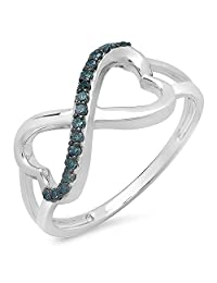 0.15 Carat (ctw) 10k White Gold Round Blue Diamond Ladies Double Heart Infinity Love Bridal Promise Ring