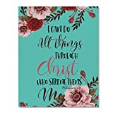 Wayfare Art Christian Bible Verses Philippians 4:13 Canvas Prints Artwork Wall Art Poster for Home Office Living Room Decorations 8 x 10 inch