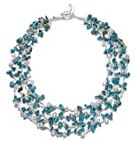 HinsonGayle 'Sienna' 4-Strand Handwoven Turquoise & White Freshwater Cultured Pearl Necklace-20 in length