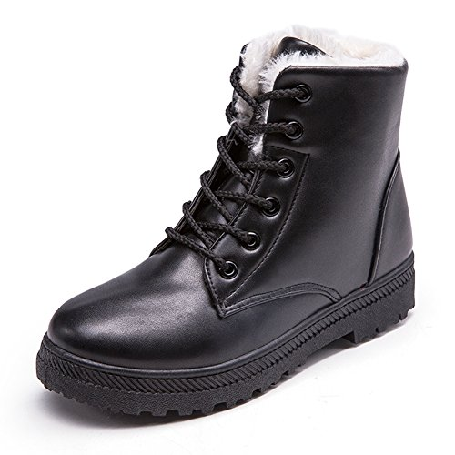 NOT100 Womens Snow Boots Winter Ankle Boots Combat Walking Shoes Booties Black Vegan Size 7.5 7 1/2 by NOT100