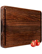 AZRHOM Large Walnut Wood Cutting Board for Kitchen 18x12 Cheese Charcuterie Board (Gift Box Included) Extra Thick Reversible Butcher Block Chopping Board Handles and Juice Groove