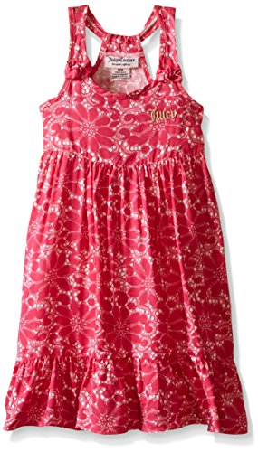 Juicy Couture Baby Girls' Printed Rayon Challis High-Low Maxi Dress, Pink, 18 (Challis Printed Skirt)