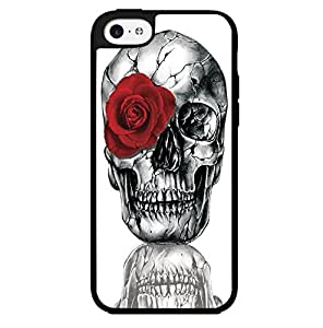 Skull with a Red Rose Hard Snap on Phone Case (iPhone 5c) by runtopwell