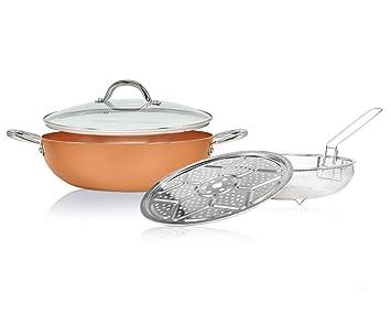 cacerola de cocción Wok de cobre de 12 pulgadas sin libro de cocina. También se asemeja a cazuela compatible con inducción con tapa de vidrio.