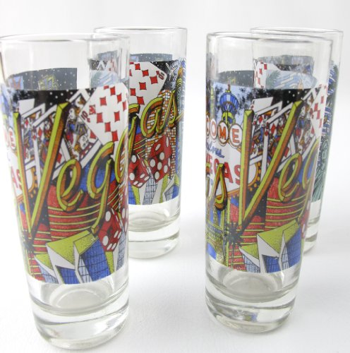 Set of 4 Las Vegas Double Shot Glasses Cards Dice Sights