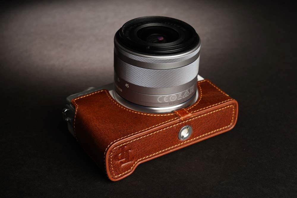 Handmade Genuine Real Leather Half Camera Case Bag Cover for Canon EOS M200 M100 Sandy Brown Color