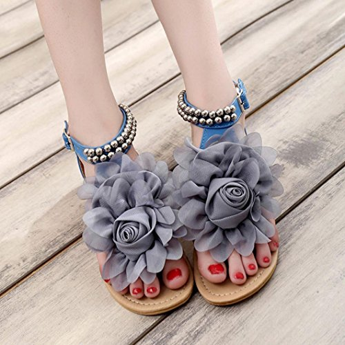 Hunpta Frauen Böhmen Perlen Sommerblume flach Flip Flops Damen Schuhe Sandalen Blau