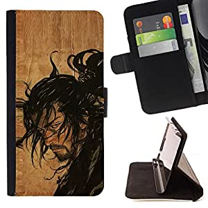 For Samsung Galaxy S5 Mini, SM-G800 Samurai Japanese Warrior Leather Foilo Wallet Cover Case with Magnetic Closure