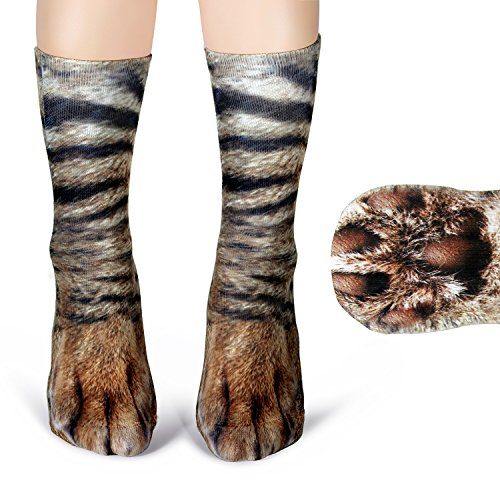 Haley Clothes Animal Kitty Cat Tiger Dog Paw Feet Socks Funny Socks for Men Women (Cat) -