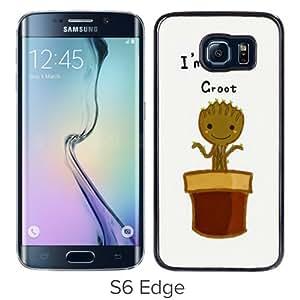 High Quality Samsung Galaxy S6 Edge Skin Case ,I Am Groot Baby Flower Black Samsung Galaxy S6 Edge Screen Cover Case Popular And Unique Custom Designed Phone Case