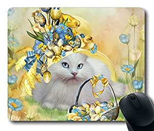 Cat In Yellow Easter Hat Thanksgiving Personlized Masterpiece Limited Design Oblong Mouse Pad by Cases & Mousepads