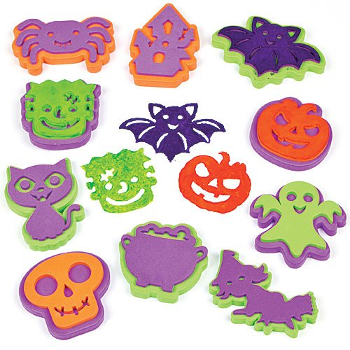 Baker Ross Halloween Stampers for Children to Decorate Card Crafts and Collage (Pack of 10) -