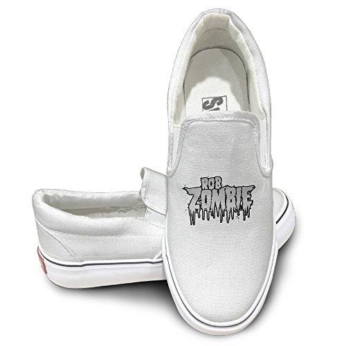 Harriy Rob Zombiey Unisex Fashion Flat Canvas Sneaker Shoes 44 White