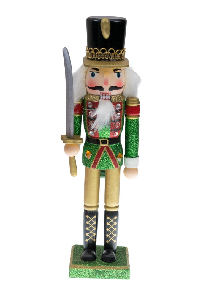 Traditional Soldier Nutcracker | Red, Green and Gold Uniform | Holding Drawn Sword | Classic Collectible Nutcracker | Festive Christmas Decor | Perfect for Shelves and Tables | 100% Wood | 12'' Tall