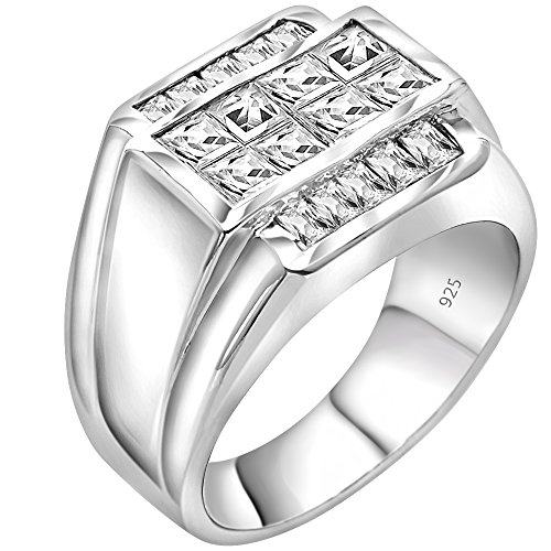 Men's Sterling Silver .925 Ring Invisible and Channel Set Cubic Zirconia Stones, Platinum Plated. By Sterling Manufacturers (Mens White Gold Pinky Ring)