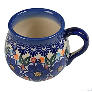 BCV Classic Boleslawiec, Polish Pottery Hand Painted Ceramic Mug, Barrel (300, U-097)