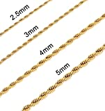 Monily 3MM 20 Inches Stainless Steel Twist Rope Chain Necklace Mens Womens Necklace Jewelry
