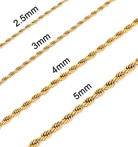 Gold Plated Rope Chain (3MM 24 Inches Stainless Steel Twist Rope Chain Necklace Mens Womens Necklace Jewelry)