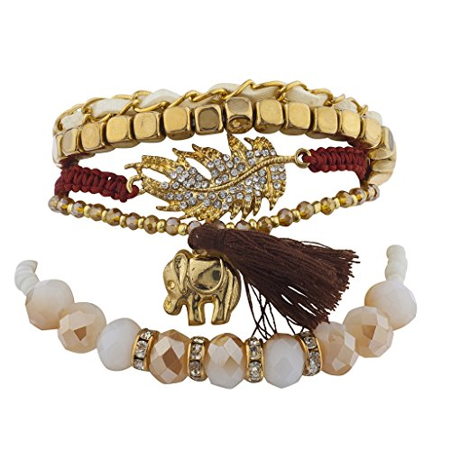 (Lux Accessories Goldtone Leaf Elephant Beaded Natural Boho Arm Candy Set)