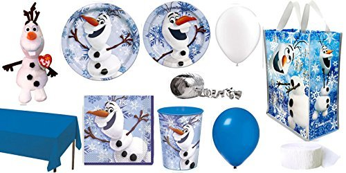 Disney Frozen Olaf Party Supplies for 16 Guests This Party Pack Includes Reusable Tote, Ty Beanie Baby, Cups, Large Plates, Small Plates, Large Napkins, Table Cover, Streamer, Balloons and Curling (Disney Frozen Crepe Paper)