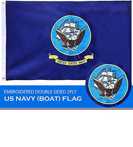 - G128 - U.S. Navy Flag 3ftx5ft 3x5 3'x5' Double Sided 2ply Embroidered Heavy Duty Brass Grommets