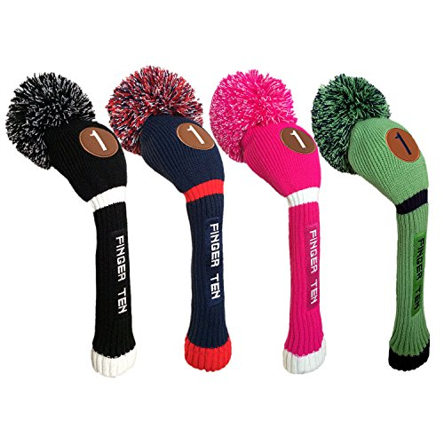 Pom Pom Golf Club Head Covers for Driver Fairway Hybrid Wood, Vintage Knit Black Blue Pnk 1 3 5 Men Women Set (Hybrid, Dark (Pom Wood)