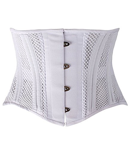Camellias Women's 26 Steel Boned Corset Heavy Duty Waist Trainer Corset Shaper for Weight Loss Tummy Control Waist Slimming Trimmer Cincher Shapewear White Breathable Summer Mesh, (Mesh Shaper)