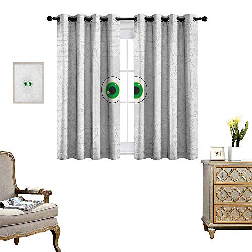 (Warm Family Trippy Window Curtain Fabric High-Tech Hardware Circuit Board Backdrop with Eye Forms Digital Picture Drapes for Living Room W63 x L63 Pearl Black Jade Green)