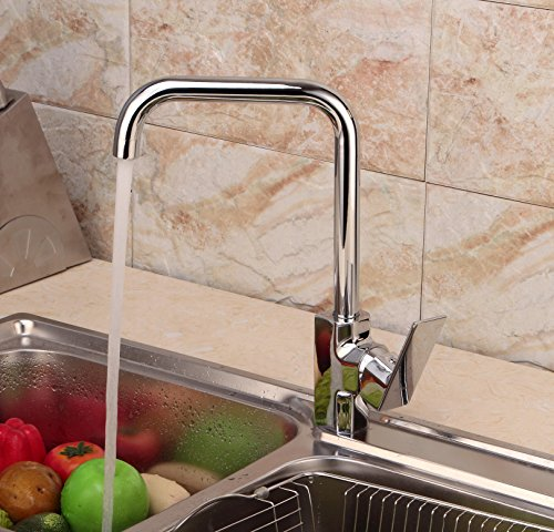 LIDANDA Modern High-Arc Widespread Single Handle Kitchen Sink Faucet, 360 Degree Swivel Hot & Cold Water Mixer Tap Spout(Chrome Finish)