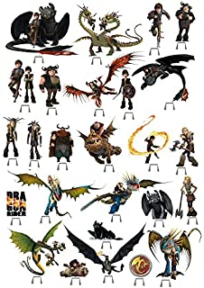 A4 how to train your dragon personalised edible icing birthday cake 27x how to train your dragon party edible wafer card cup cake stand up topper j ccuart Gallery