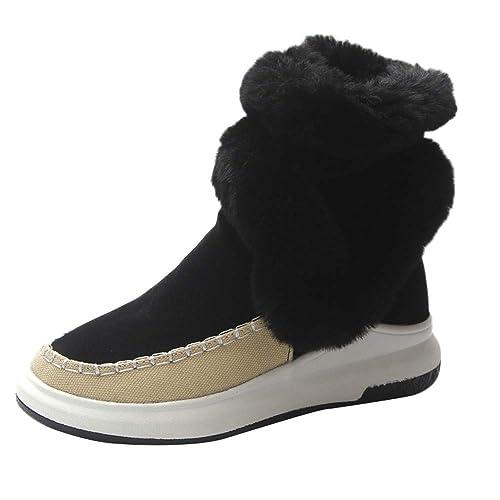 8f68369f7e5ba3 Winterstiefel Damen Gefüttert Schneestiefel Bequeme Schuhe Blockabsatz  Outdoor Schwarz Sneaker