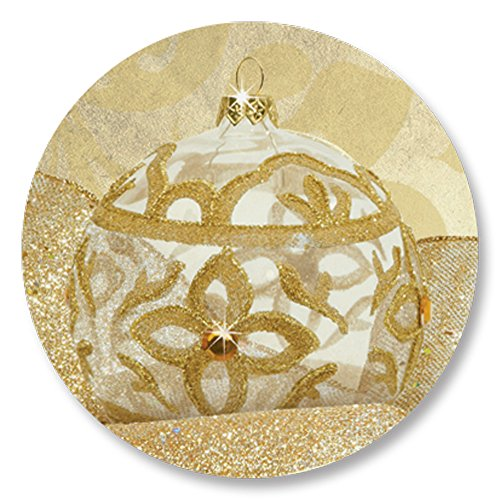 Full Color Golden Filigree Christmas Ornament Holiday Seals, 1 1/4 Inches, Self Adhesive, 140 Count