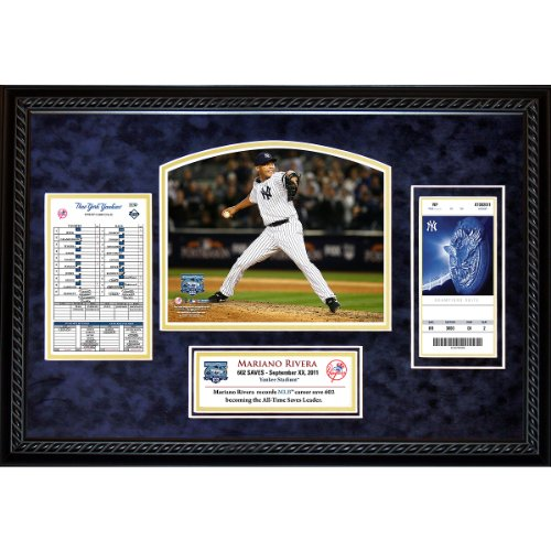 Steiner Sports New York Yankees Mariano Rivera Record Breaking Save (602nd Career Save) Replica Ticket Collage with Replica Ticket and Line Up Card