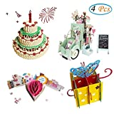 3D Pop Up Birthday Cards Greeting Handmade Birthday Cards & Envelopes for Unique Birthday Gifts (4 Pack)