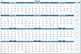 Sky Blue 2019-2020 (July 2019- June 2020) Academic Year Dry and Wet Erasable Horizontal Wall Calendar 32 in. X 48 in.