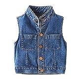 ZPW Little Boys' Stand Collar Denim Vest Outerwear