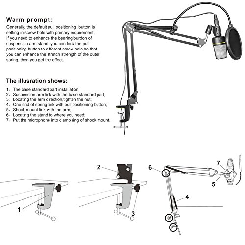 NEEWER Adjustable Microphone Suspension Boom Scissor Arm Stand, Compact Mic Stand Made of Durable Steel for Radio Broadcasting Studio, Voice-Over Sound Studio, Stages, and TV Stations - Image 6