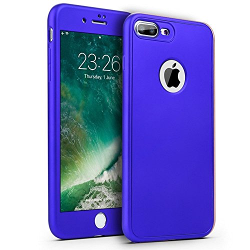 PHEZEN iPhone 7 Plus Case,iPhone 8 Plus Case, [360 Degree Full Body Coverage], Front and Back Protecive Soft TPU Silicone Rubber Case + Tempered Glass Screen Protector for iPhone 7 Plus/8 Plus, Blue