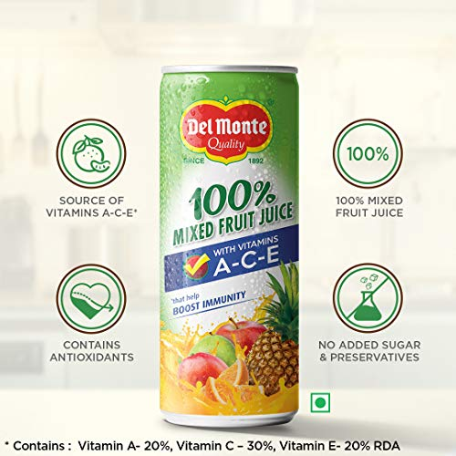 Del Monte 100% Mixed Fruit Juice with Vitamins A-C-E That Helps Boost Immunity, 4 x 240 ml