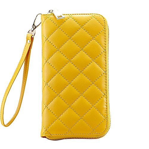 [Ladies Leather Wristlet Wallet Clutch, Cell Phone Wallet Purse Iphone 7 Plus 6S Galaxy S7 Note 5] (Yellow Purses)
