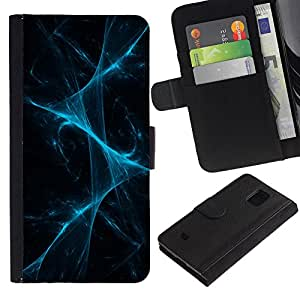 KingStore / Leather Etui en cuir / Samsung Galaxy S5 Mini, SM-G800 / Disco luces laser Niebla Negro