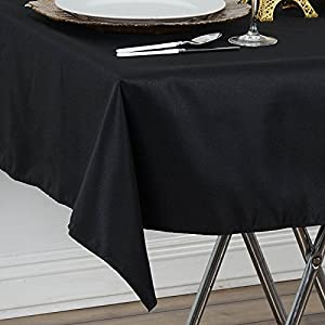 """Efavormart 54"""" x 54"""" Black Wrinkle / Stain Resistant Premium Polyester Square Tablecloths For Wedding Catering Party Decorations"""