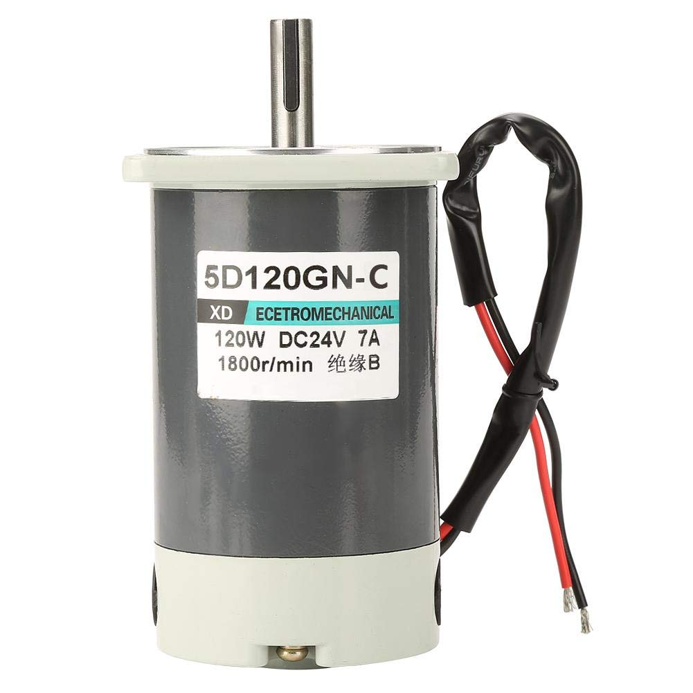DC Motor, 5D120GN-C 120W Brush Motor Adjustable High Speed Positive Inversion Metal Motor for Mechanical Equipment(24V) by Yanmis