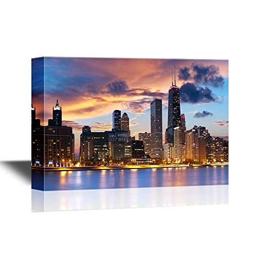 wall26 - Chicago Downtown Skyline - Canvas Art Wall Decor - 24x36 inches (Chicago Skyline Wall Art)