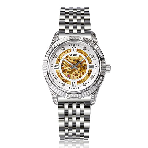 BINLUN Mens Diamond Gold Skeleton Watch Silver Stainless Steel Waterproof Automatic Watches for Men by BINLUN