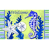 Seahorse Welcome Starfish Coral Sand Dollar Coastal 18 X 30 Inch Floor Mat Rug