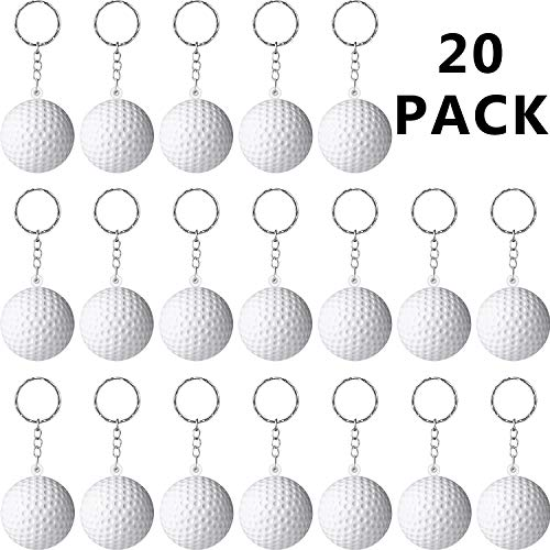 - Blulu 20 Pack White Golf Ball Keychains for Party Favors, School Carnival Reward, Party Bag Gift Fillers (Golf Ball Keychains, 20 Pack)