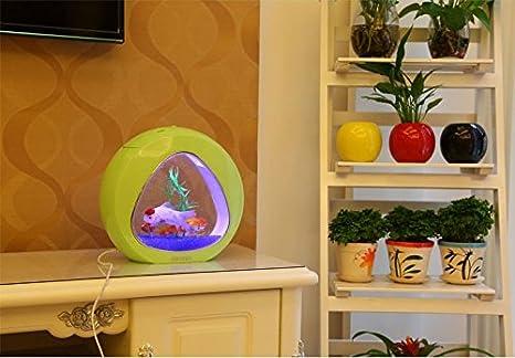 Nicepets Acuario Mini de 4L de diseño Triangular con Luces LED, Bomba con oxígeno, Material filtrante y Grava de Color Azul eléctrico incluidos: Amazon.es: ...