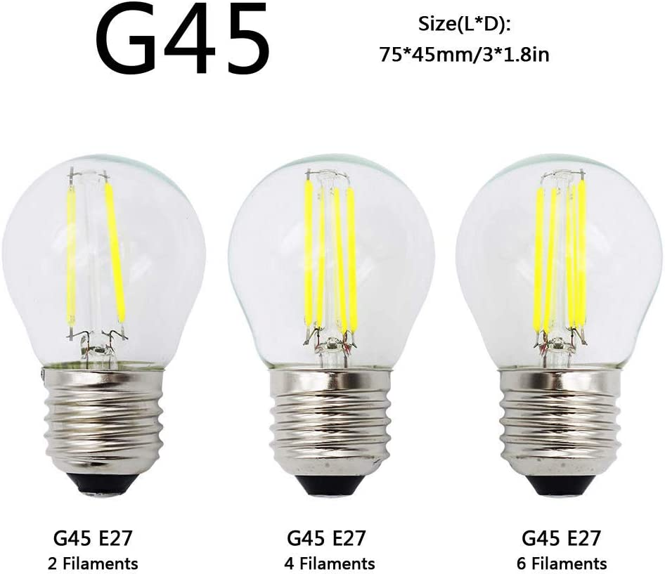 Asljiksy Retro 2W 4W 6W 8W Dimmable Led Filament Light Bulb E27 E14 Candle Lamp COB 220V 230V Replace 20W 40W 60W 80W Bulbs Warm White 6W A60 e27 Yes