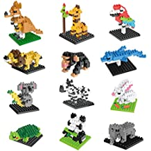 Animal Nanoblock Mini Building Blocks Zoo Set-12 styles for Girls or Boys Birthday Party Gift,Easter Egg Fillers,Goodie Bags